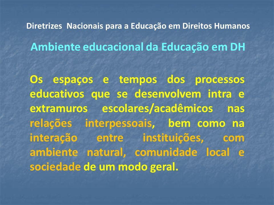 Os espaços e tempos dos processos educativos que se desenvolvem intra e extramuros escolares/acadêmicos nas relações interpessoais, bem como na interação entre instituições, com ambiente natural, comunidade local e sociedade de um modo geral.