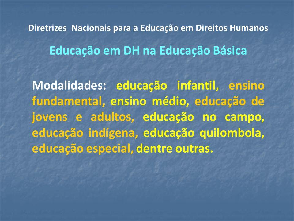 Modalidades: educação infantil, ensino fundamental, ensino médio, educação de jovens e adultos, educação no campo, educação indígena, educação quilombola, educação especial, dentre outras.