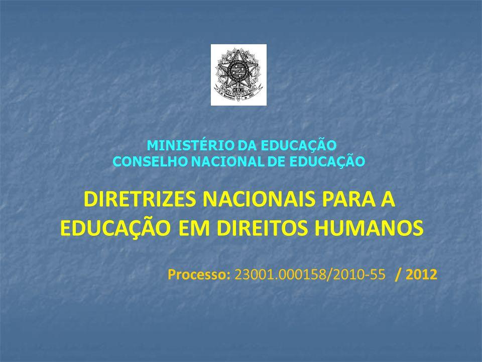 MINISTÉRIO DA EDUCAÇÃO CONSELHO NACIONAL DE EDUCAÇÃO DIRETRIZES NACIONAIS PARA A EDUCAÇÃO EM DIREITOS HUMANOS Processo: 23001.000158/2010-55 / 2012