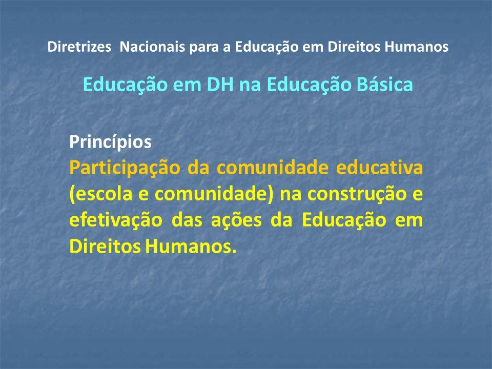 Princípios Participação da comunidade educativa (escola e comunidade) na construção e efetivação das ações da Educação em Direitos Humanos.