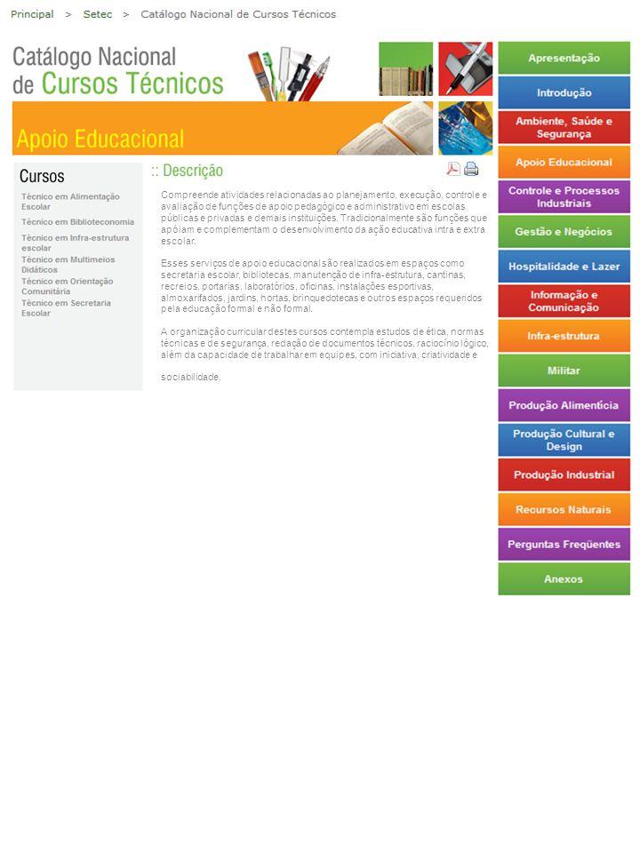 Compreende atividades relacionadas ao planejamento, execução, controle e avaliação de funções de apoio pedagógico e administrativo em escolas públicas
