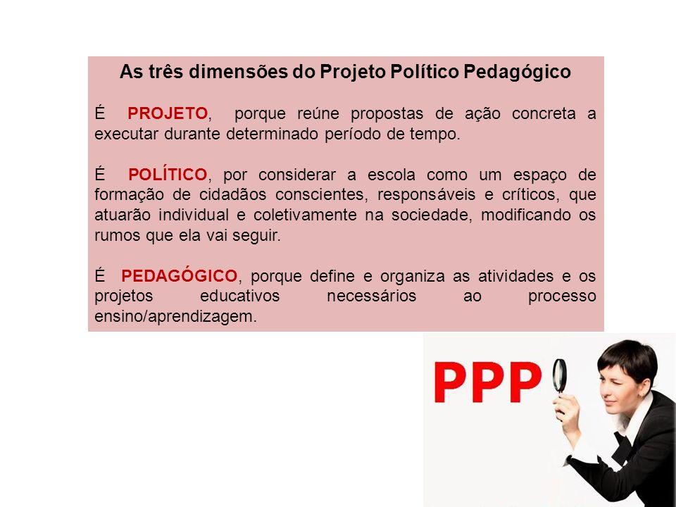 As três dimensões do Projeto Político Pedagógico É PROJETO, porque reúne propostas de ação concreta a executar durante determinado período de tempo. É