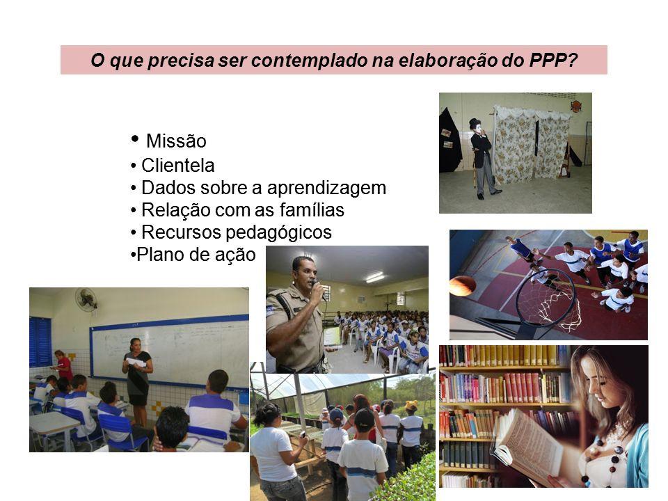O que precisa ser contemplado na elaboração do PPP? Missão Clientela Dados sobre a aprendizagem Relação com as famílias Recursos pedagógicos Plano de