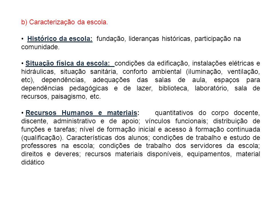 b) Caracterização da escola. Histórico da escola: fundação, lideranças históricas, participação na comunidade. Situação física da escola: condições da