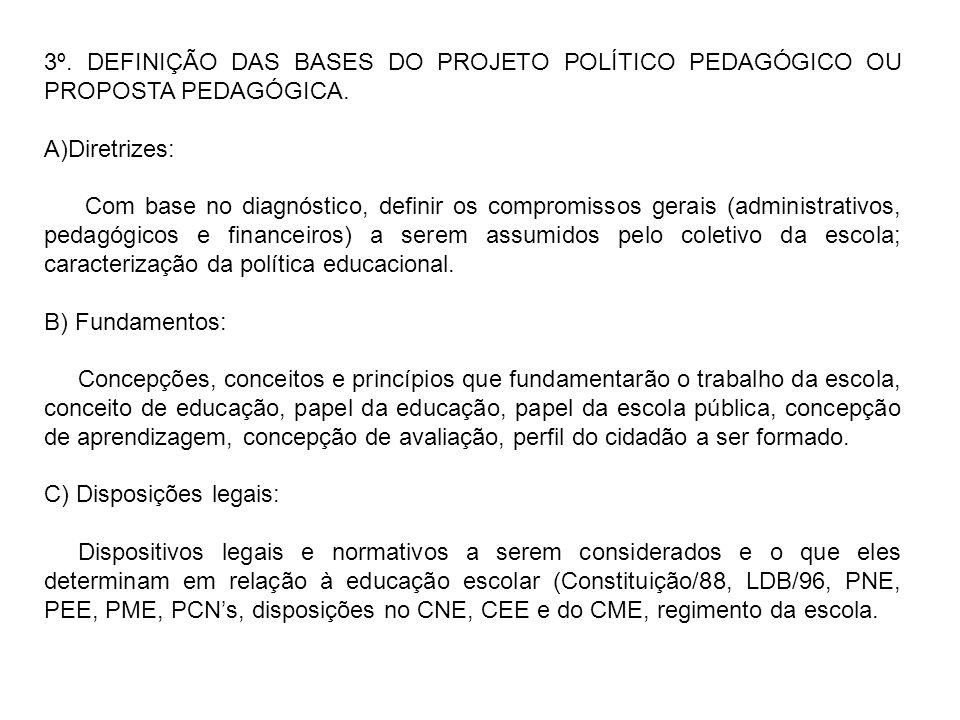 3º. DEFINIÇÃO DAS BASES DO PROJETO POLÍTICO PEDAGÓGICO OU PROPOSTA PEDAGÓGICA. A)Diretrizes: Com base no diagnóstico, definir os compromissos gerais (