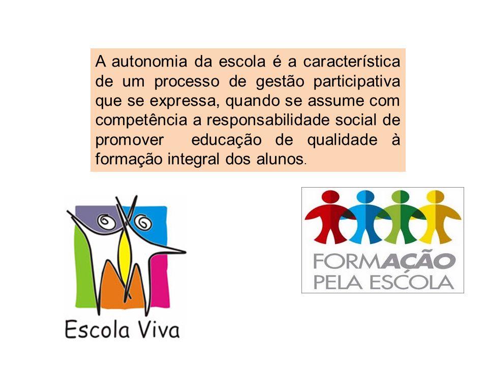 A autonomia da escola é a característica de um processo de gestão participativa que se expressa, quando se assume com competência a responsabilidade s