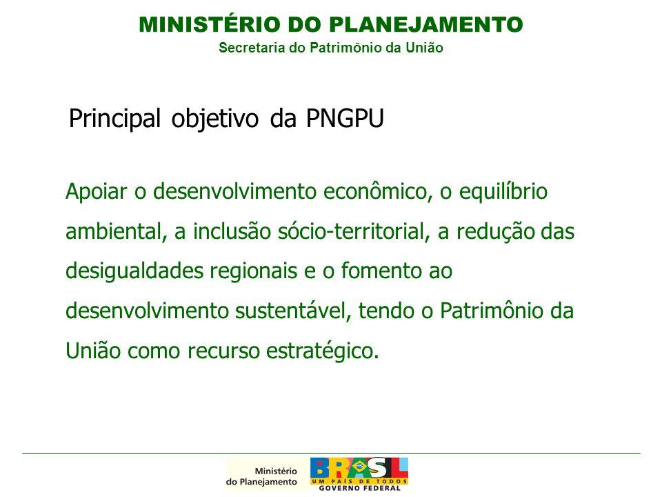 Apoiar o desenvolvimento econômico, o equilíbrio ambiental, a inclusão sócio-territorial, a redução das desigualdades regionais e o fomento ao desenvolvimento sustentável, tendo o Patrimônio da União como recurso estratégico.