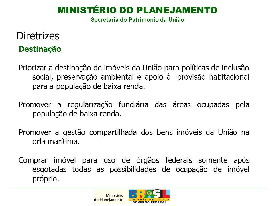 Destinação Priorizar a destinação de imóveis da União para políticas de inclusão social, preservação ambiental e apoio à provisão habitacional para a população de baixa renda.