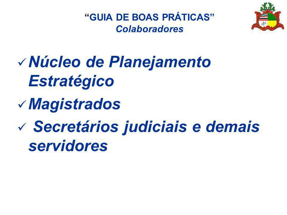 GUIA DE BOAS PRÁTICAS Colaboradores Núcleo de Planejamento Estratégico Magistrados Secretários judiciais e demais servidores