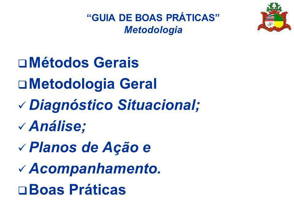GUIA DE BOAS PRÁTICAS Metodologia Métodos Gerais Metodologia Geral Diagnóstico Situacional; Análise; Planos de Ação e Acompanhamento. Boas Práticas