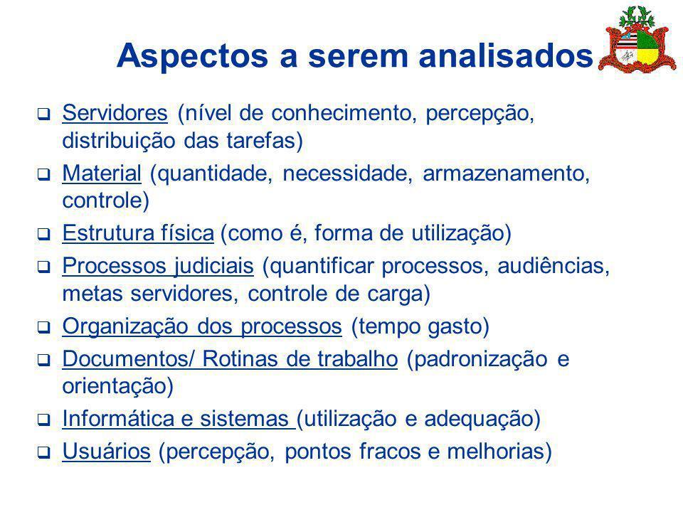 Aspectos a serem analisados Servidores (nível de conhecimento, percepção, distribuição das tarefas) Material (quantidade, necessidade, armazenamento,
