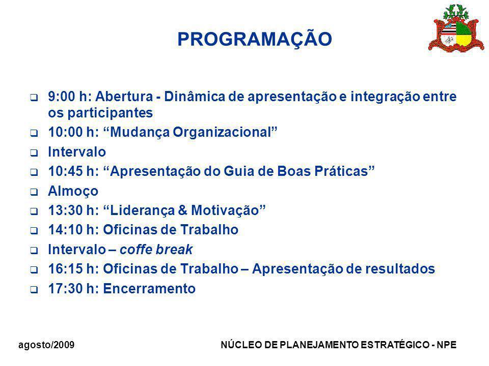 agosto/2009 NÚCLEO DE PLANEJAMENTO ESTRATÉGICO - NPE PROGRAMAÇÃO 9:00 h: Abertura - Dinâmica de apresentação e integração entre os participantes 10:00