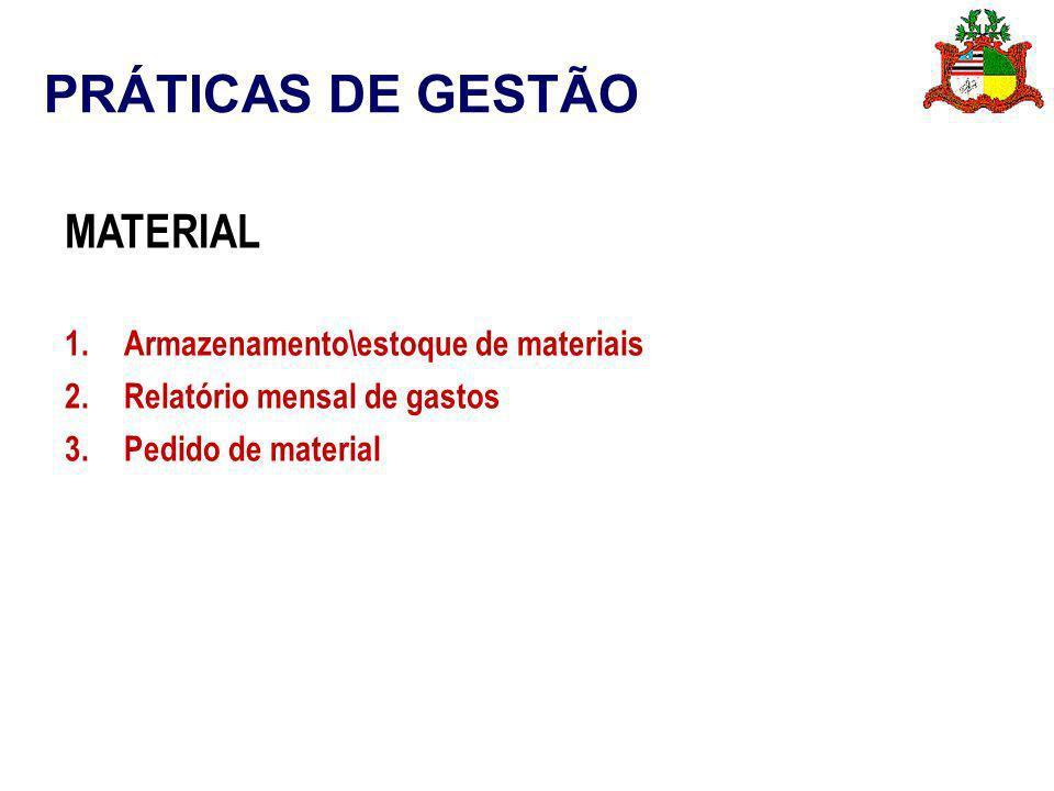 PRÁTICAS DE GESTÃO MATERIAL 1.Armazenamento\estoque de materiais 2.Relatório mensal de gastos 3.Pedido de material