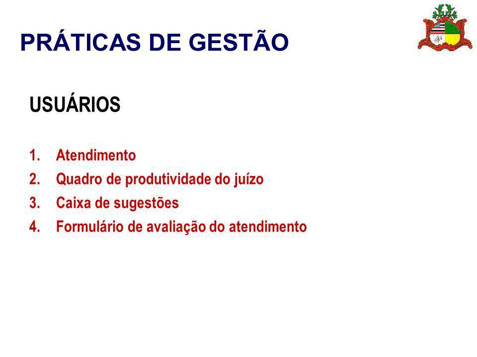 PRÁTICAS DE GESTÃO USUÁRIOS 1.Atendimento 2.Quadro de produtividade do juízo 3.Caixa de sugestões 4.Formulário de avaliação do atendimento