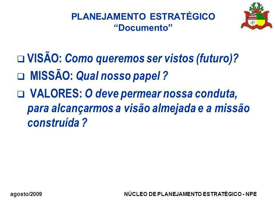 agosto/2009 NÚCLEO DE PLANEJAMENTO ESTRATÉGICO - NPE PLANEJAMENTO ESTRATÉGICO Documento VISÃO: Como queremos ser vistos (futuro)? MISSÃO: Qual nosso p