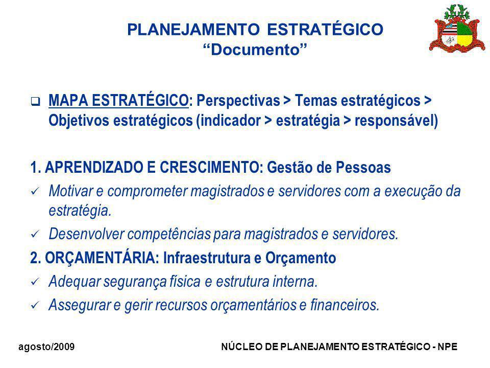 agosto/2009 NÚCLEO DE PLANEJAMENTO ESTRATÉGICO - NPE PLANEJAMENTO ESTRATÉGICO Documento MAPA ESTRATÉGICO: Perspectivas > Temas estratégicos > Objetivo