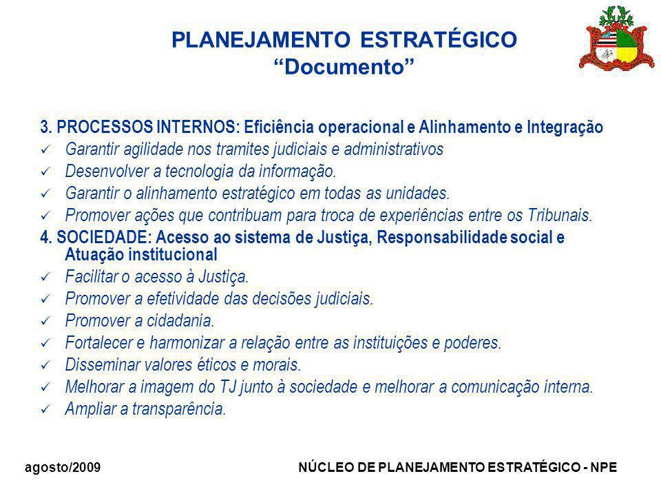 agosto/2009 NÚCLEO DE PLANEJAMENTO ESTRATÉGICO - NPE PLANEJAMENTO ESTRATÉGICO Documento 3. PROCESSOS INTERNOS: Eficiência operacional e Alinhamento e