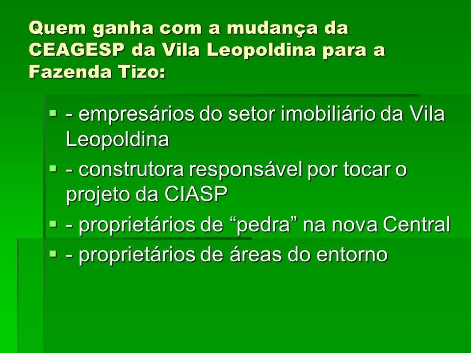 Quem ganha com a mudança da CEAGESP da Vila Leopoldina para a Fazenda Tizo: - empresários do setor imobiliário da Vila Leopoldina - empresários do set