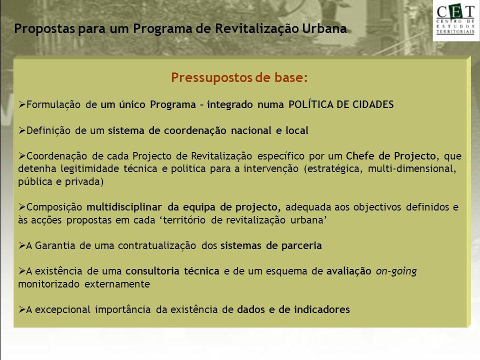 Pressupostos de base: Formulação de um único Programa – integrado numa POLÍTICA DE CIDADES Definição de um sistema de coordenação nacional e local Coo
