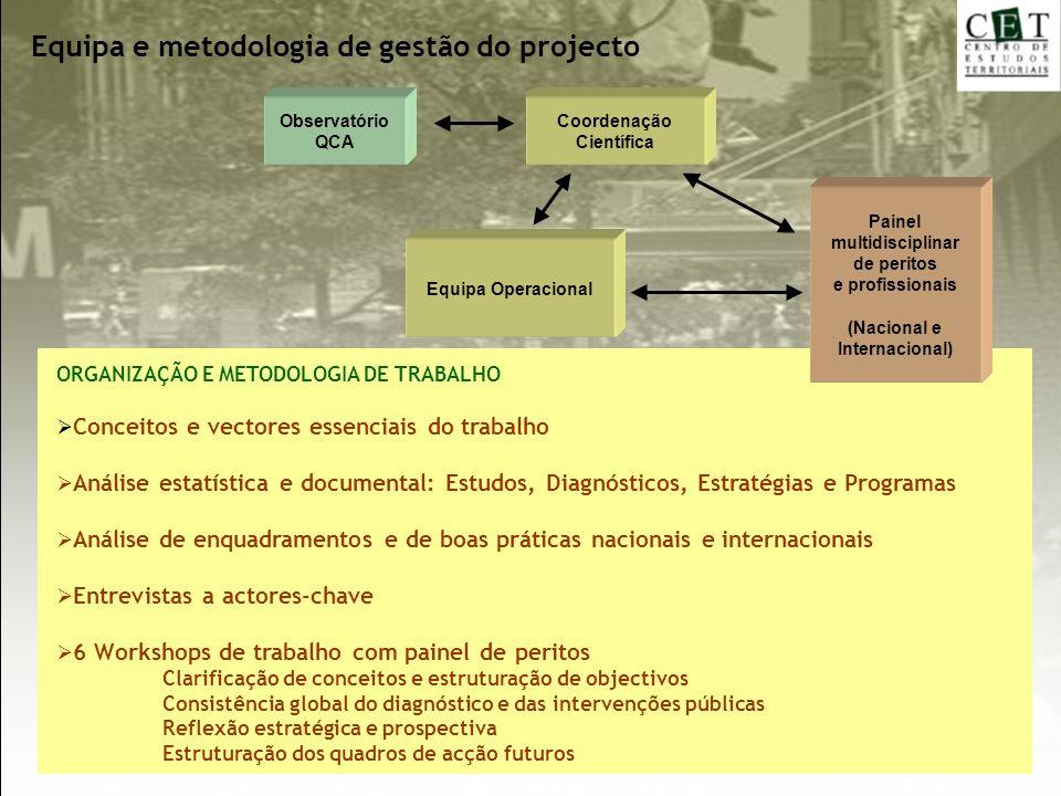 Equipa e metodologia de gestão do projecto ORGANIZAÇÃO E METODOLOGIA DE TRABALHO Conceitos e vectores essenciais do trabalho Análise estatística e doc