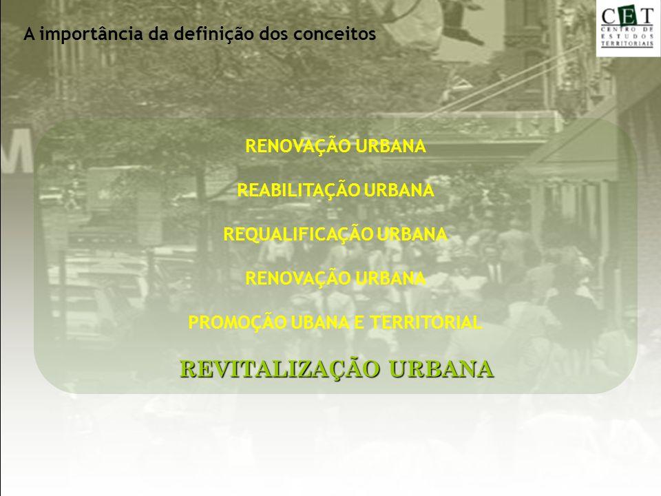 RENOVAÇÃO URBANA REABILITAÇÃO URBANA REQUALIFICAÇÃO URBANA RENOVAÇÃO URBANA PROMOÇÃO UBANA E TERRITORIAL REVITALIZAÇÃO URBANA A importância da definiç