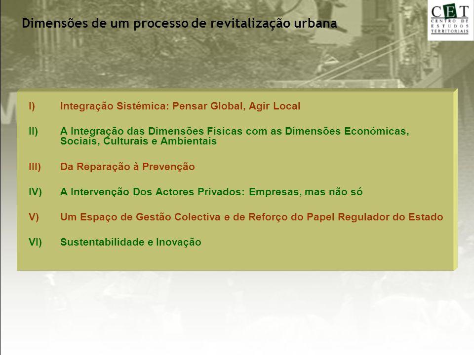 Dimensões de um processo de revitalização urbana I)Integração Sistémica: Pensar Global, Agir Local II)A Integração das Dimensões Físicas com as Dimens
