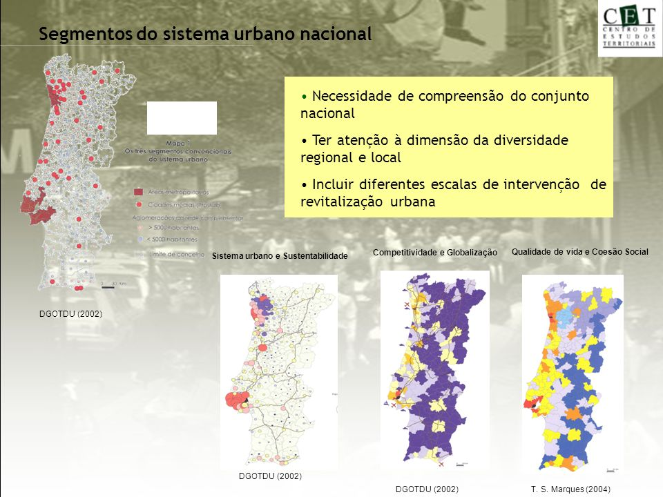 Segmentos do sistema urbano nacional Qualidade de vida e Coesão Social Competitividade e Globalização Sistema urbano e Sustentabilidade Necessidade de