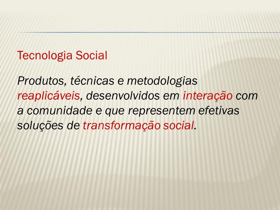 Tecnologia Social – outros elementos Intensiva em conhecimento Intensiva em mão de obra Poupadora de recursos Baixo custo relativo