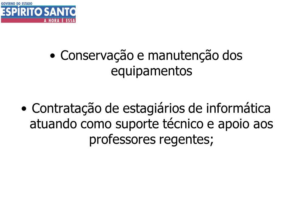 Conservação e manutenção dos equipamentos Contratação de estagiários de informática atuando como suporte técnico e apoio aos professores regentes;