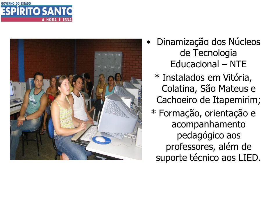 Dinamização dos Núcleos de Tecnologia Educacional – NTE * Instalados em Vitória, Colatina, São Mateus e Cachoeiro de Itapemirim; * Formação, orientaçã