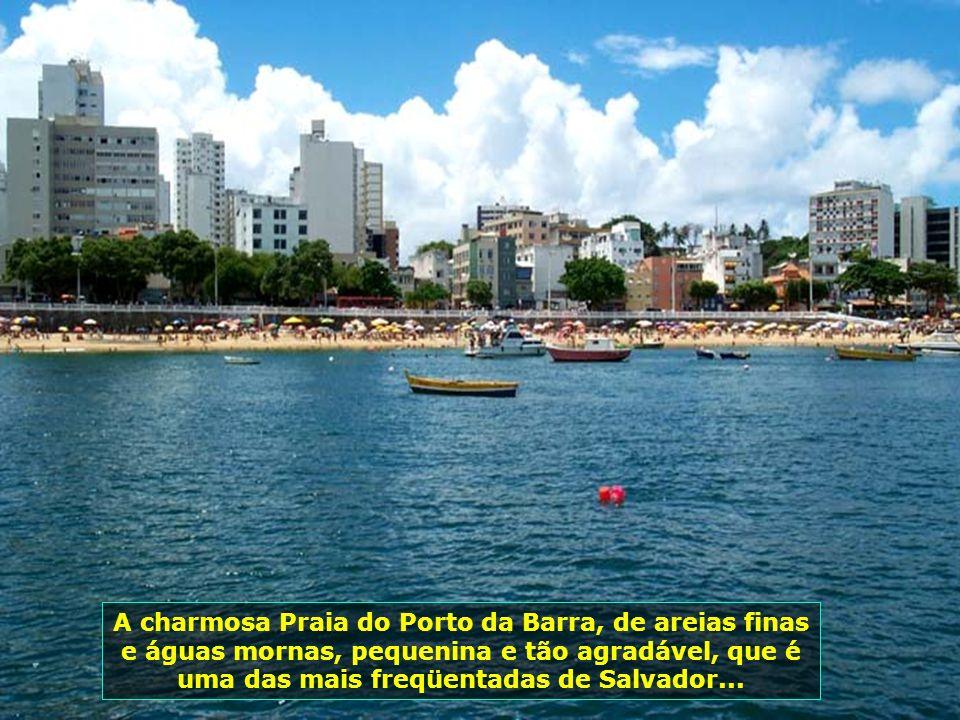 Forte de São Marcelo, construído sobre um banco de recifes a 300 m da costa, destaca-se por se encontrar dentro das águas e ser o único no Brasil em f