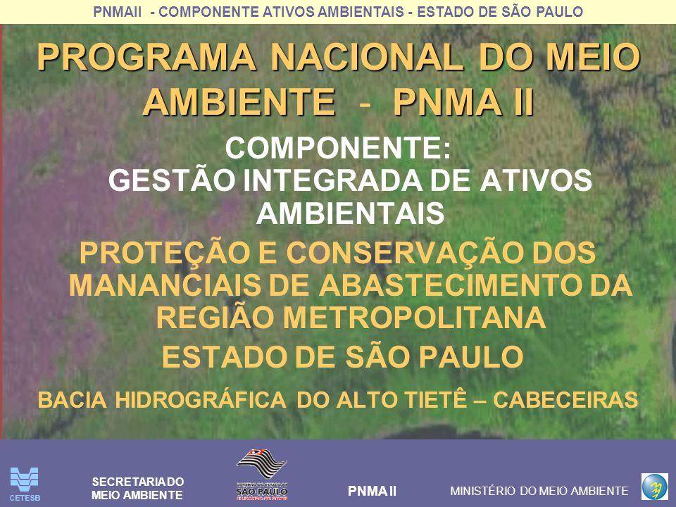 PNMAII - COMPONENTE ATIVOS AMBIENTAIS - ESTADO DE SÃO PAULO PNMA II MINISTÉRIO DO MEIO AMBIENTE SECRETARIA DO MEIO AMBIENTE PROGRAMA NACIONAL DO MEIO