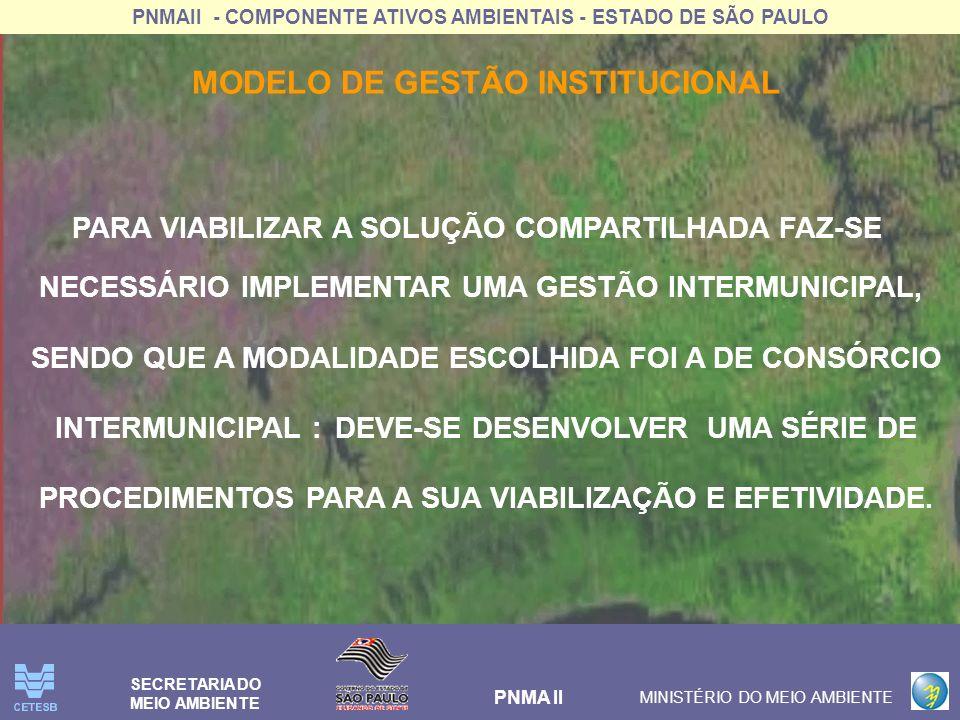 PNMAII - COMPONENTE ATIVOS AMBIENTAIS - ESTADO DE SÃO PAULO PNMA II MINISTÉRIO DO MEIO AMBIENTE SECRETARIA DO MEIO AMBIENTE MODELO DE GESTÃO INSTITUCI