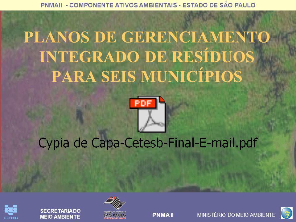 PNMAII - COMPONENTE ATIVOS AMBIENTAIS - ESTADO DE SÃO PAULO PNMA II MINISTÉRIO DO MEIO AMBIENTE SECRETARIA DO MEIO AMBIENTE PLANOS DE GERENCIAMENTO IN