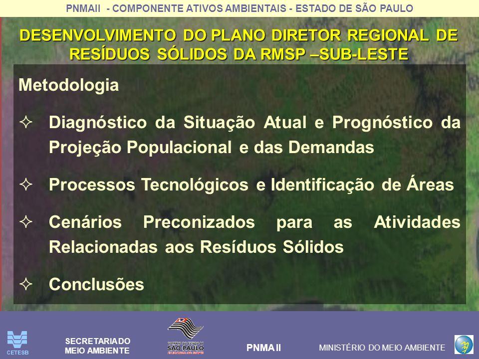 PNMAII - COMPONENTE ATIVOS AMBIENTAIS - ESTADO DE SÃO PAULO PNMA II MINISTÉRIO DO MEIO AMBIENTE SECRETARIA DO MEIO AMBIENTE Metodologia Diagnóstico da