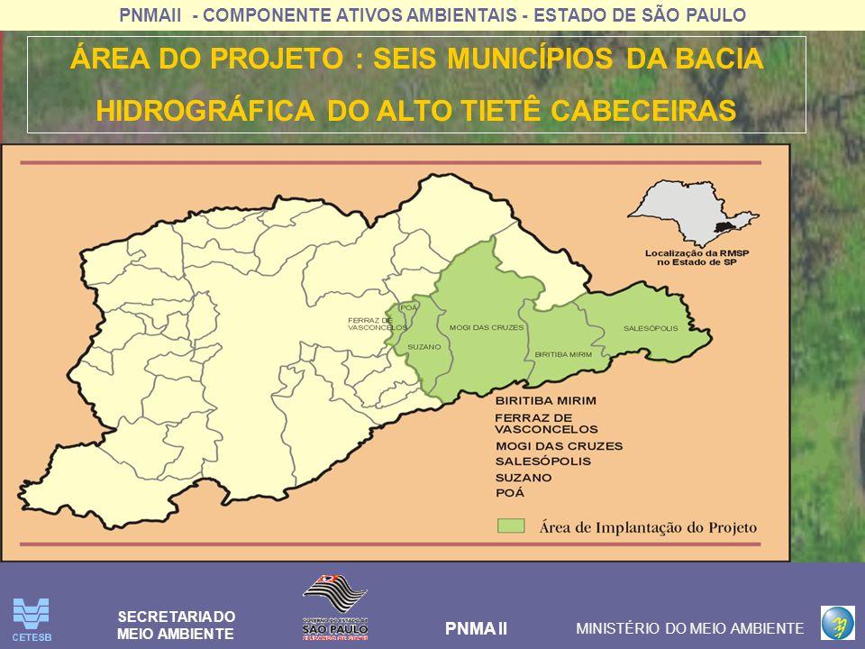 PNMAII - COMPONENTE ATIVOS AMBIENTAIS - ESTADO DE SÃO PAULO PNMA II MINISTÉRIO DO MEIO AMBIENTE SECRETARIA DO MEIO AMBIENTE Melhorar a qualidade e garantir a quantidade da água na bacia hidrográfica do Alto Tietê- Cabeceiras, visando seu uso prioritário para abastecimento público da Região Metropolitana de São Paulo.