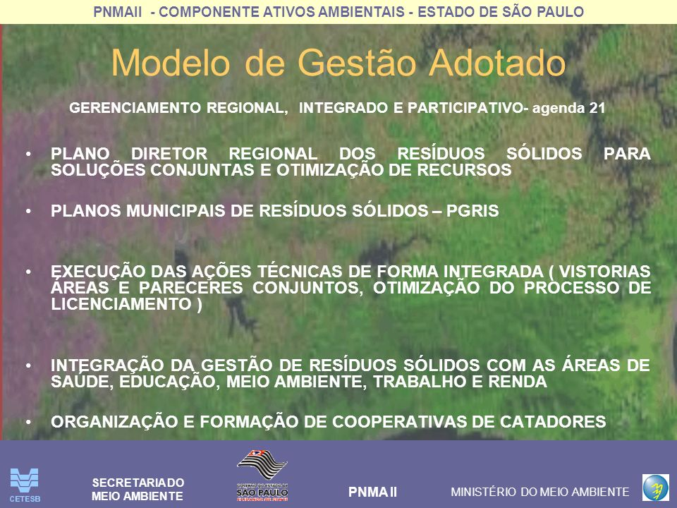 PNMAII - COMPONENTE ATIVOS AMBIENTAIS - ESTADO DE SÃO PAULO PNMA II MINISTÉRIO DO MEIO AMBIENTE SECRETARIA DO MEIO AMBIENTE Modelo de Gestão Adotado COOPERAÇÃO INTERINSTITUCIONAL ARTICULAÇÃO OS PODERES PÚBLICOS ESTADUAL E MUNICIPAIS TERMO DE COOPERAÇÃO TÉCNICA SMA/ SERT TERMO DE CONVÊNIO COM OS MUNICÍPIOS INTEGRAÇÃO DE PROJETOS E AÇÕES SETORIAIS EM ANDAMENTO PARCERIAS COM UNIVERSIDADES E ONGS ARTICULAÇÃO DE SOLUÇÕES CONJUNTAS PARA RESÍDUOS SÓLIDOS