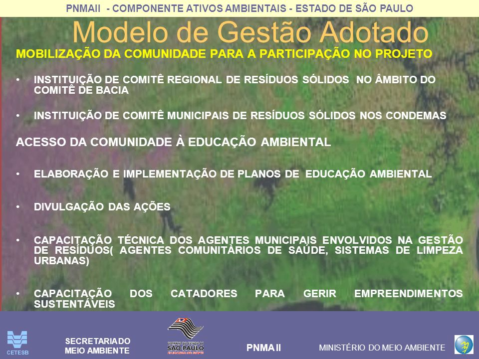 PNMAII - COMPONENTE ATIVOS AMBIENTAIS - ESTADO DE SÃO PAULO PNMA II MINISTÉRIO DO MEIO AMBIENTE SECRETARIA DO MEIO AMBIENTE Modelo de Gestão Adotado MINIMIZAÇÃO DOS RESÍDUOS SÓLIDOS IMPLANTAR PLANO DE COLETA SELETIVA E TRIAGEM DOS RESÍDUOS DOMICILIARES IMPLANTAR PLANO DE COLETA SELETIVA, TRIAGEM E BENEFICIAMENTO DOS RESÍDUOS DA CONSTRUÇÃO CIVIL INCENTIVO ÀS PRÁTICAS DE REUTILIZAÇÃO DOS RESÍDUOS ORGÂNICOS RESULTA EM OTIMIZAÇÃO DE CUSTOS