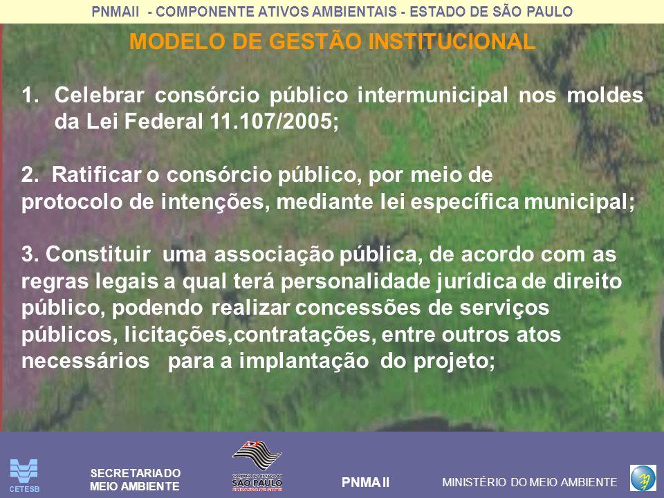 PNMAII - COMPONENTE ATIVOS AMBIENTAIS - ESTADO DE SÃO PAULO PNMA II MINISTÉRIO DO MEIO AMBIENTE SECRETARIA DO MEIO AMBIENTE MODELO DE GESTÃO INSTITUCIONAL 4.