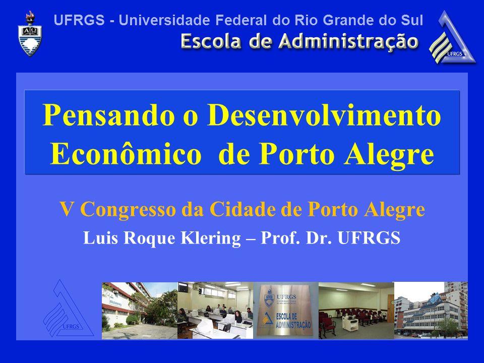 UFRGS - Universidade Federal do Rio Grande do Sul Pensando o Desenvolvimento Econômico de Porto Alegre V Congresso da Cidade de Porto Alegre Luis Roqu