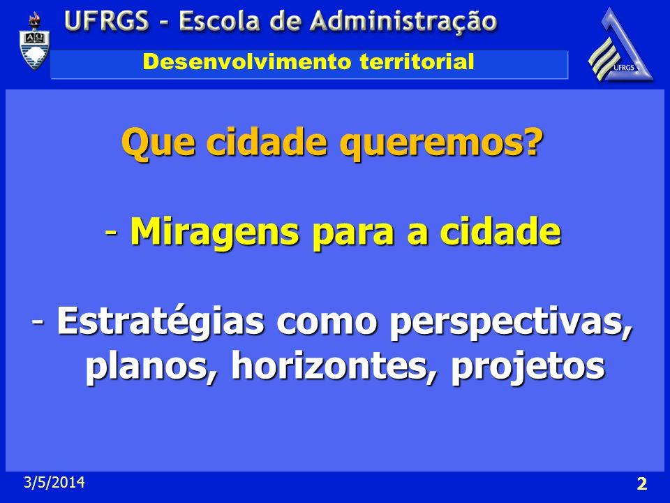 3/5/2014 2 Desenvolvimento territorial Que cidade queremos? -Miragens para a cidade -Estratégias como perspectivas, planos, horizontes, projetos