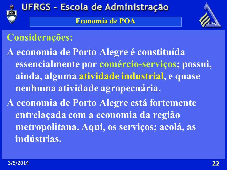 3/5/2014 22 Economia de POA Considerações: A economia de Porto Alegre é constituída essencialmente por comércio-serviços; possui, ainda, alguma ativid
