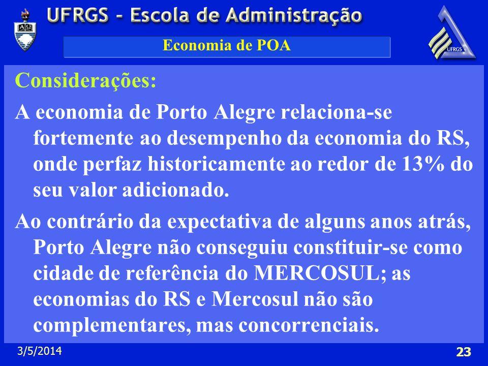 3/5/2014 23 Economia de POA Considerações: A economia de Porto Alegre relaciona-se fortemente ao desempenho da economia do RS, onde perfaz historicame
