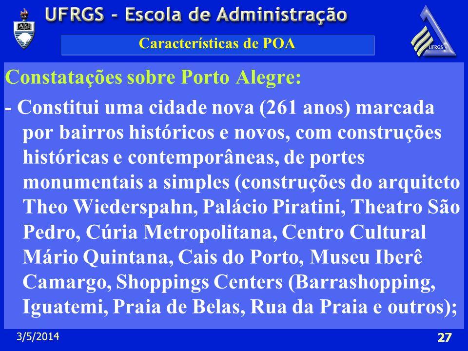 3/5/2014 27 Características de POA Constatações sobre Porto Alegre: - Constitui uma cidade nova (261 anos) marcada por bairros históricos e novos, com