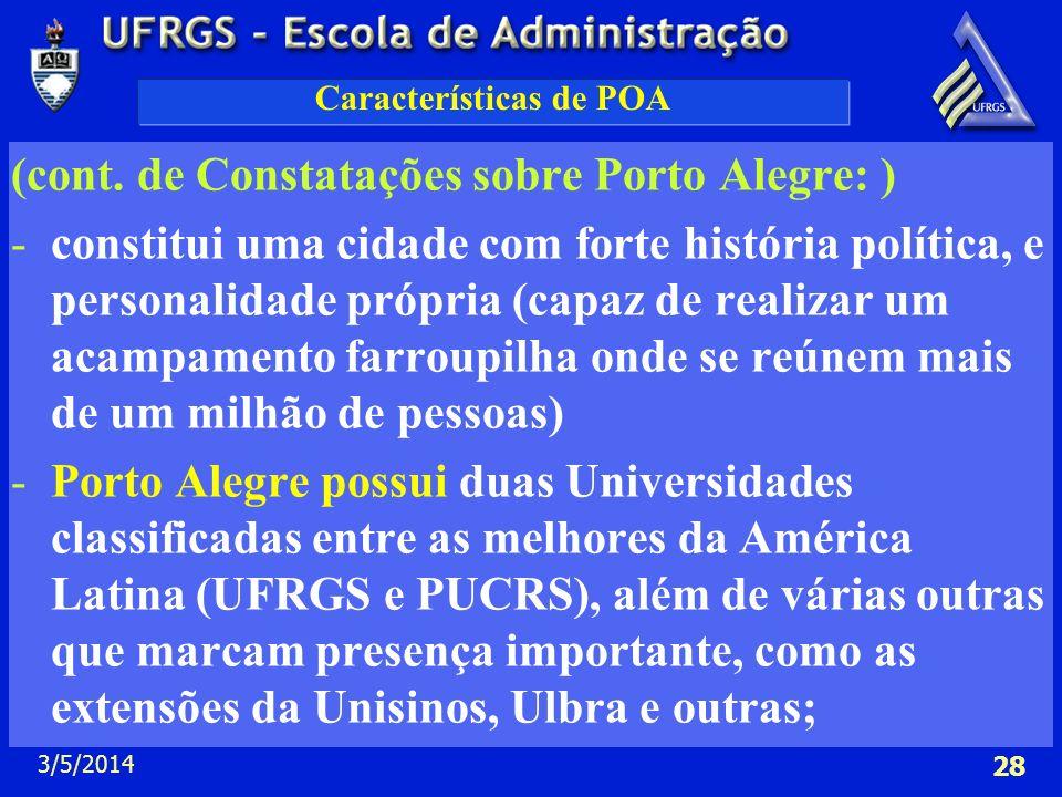 3/5/2014 28 Características de POA (cont. de Constatações sobre Porto Alegre: ) -constitui uma cidade com forte história política, e personalidade pró