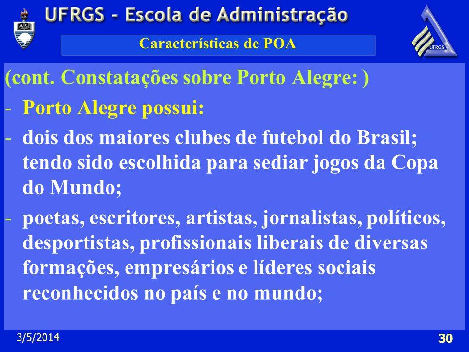 3/5/2014 30 Características de POA (cont. Constatações sobre Porto Alegre: ) -Porto Alegre possui: -dois dos maiores clubes de futebol do Brasil; tend