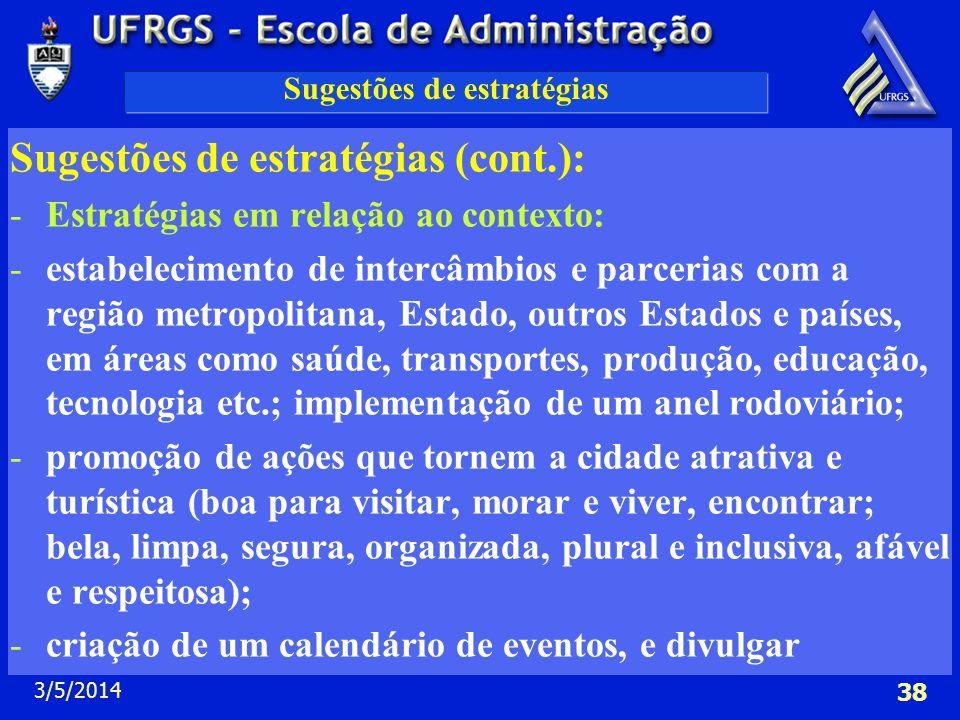 3/5/2014 38 Sugestões de estratégias Sugestões de estratégias (cont.): -Estratégias em relação ao contexto: -estabelecimento de intercâmbios e parceri