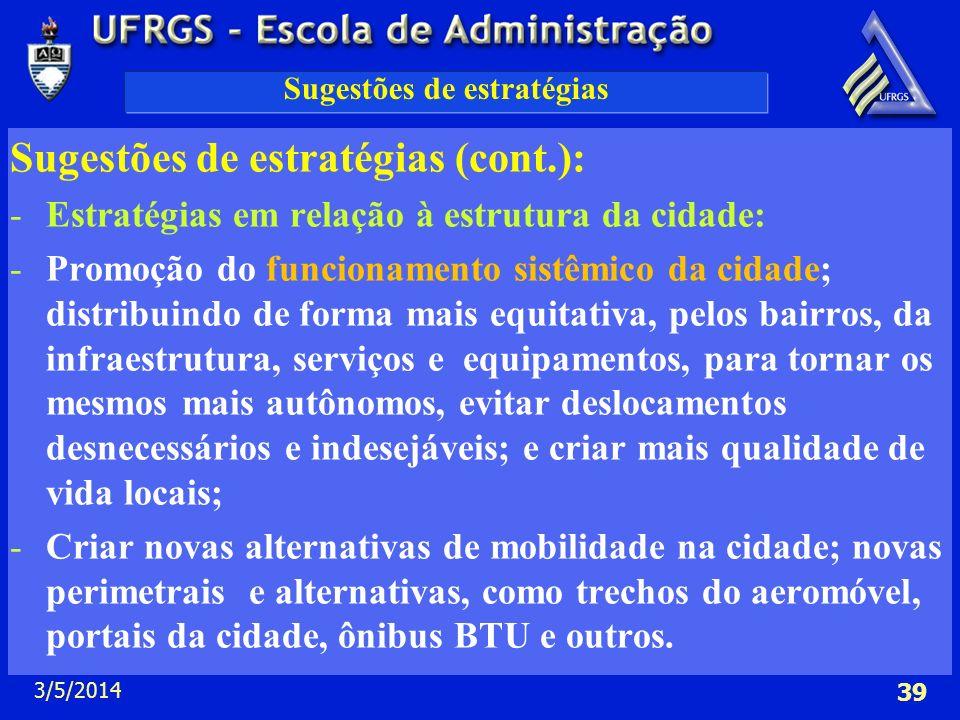 3/5/2014 39 Sugestões de estratégias Sugestões de estratégias (cont.): -Estratégias em relação à estrutura da cidade: -Promoção do funcionamento sistê