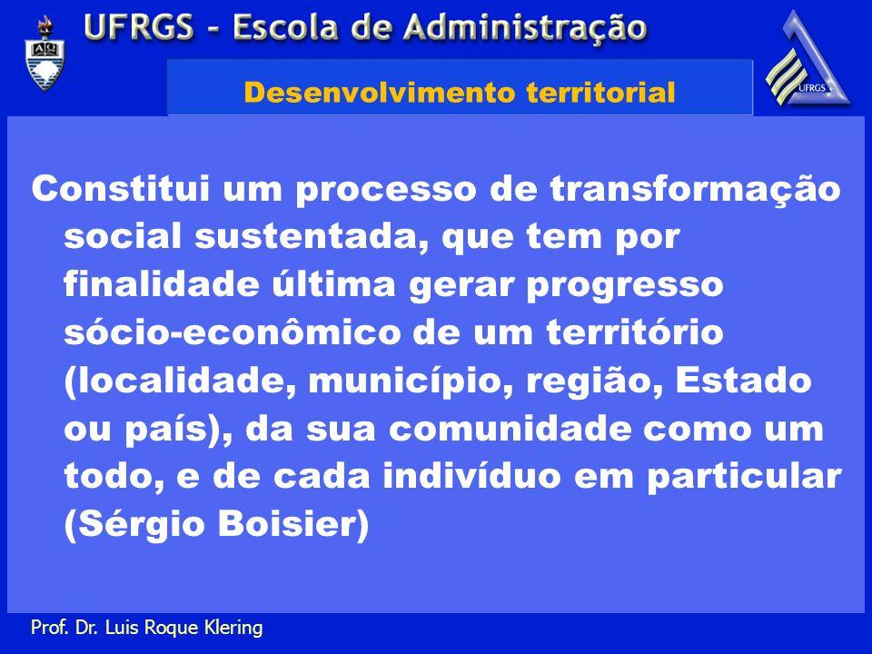 Prof. Dr. Luis Roque Klering Desenvolvimento territorial Constitui um processo de transformação social sustentada, que tem por finalidade última gerar