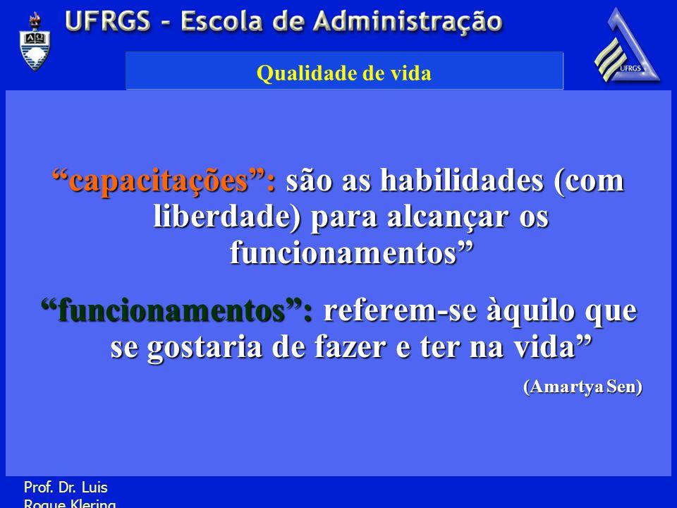 Prof. Dr. Luis Roque Klering Qualidade de vida capacitações: são as habilidades (com liberdade) para alcançar os funcionamentos funcionamentos: refere